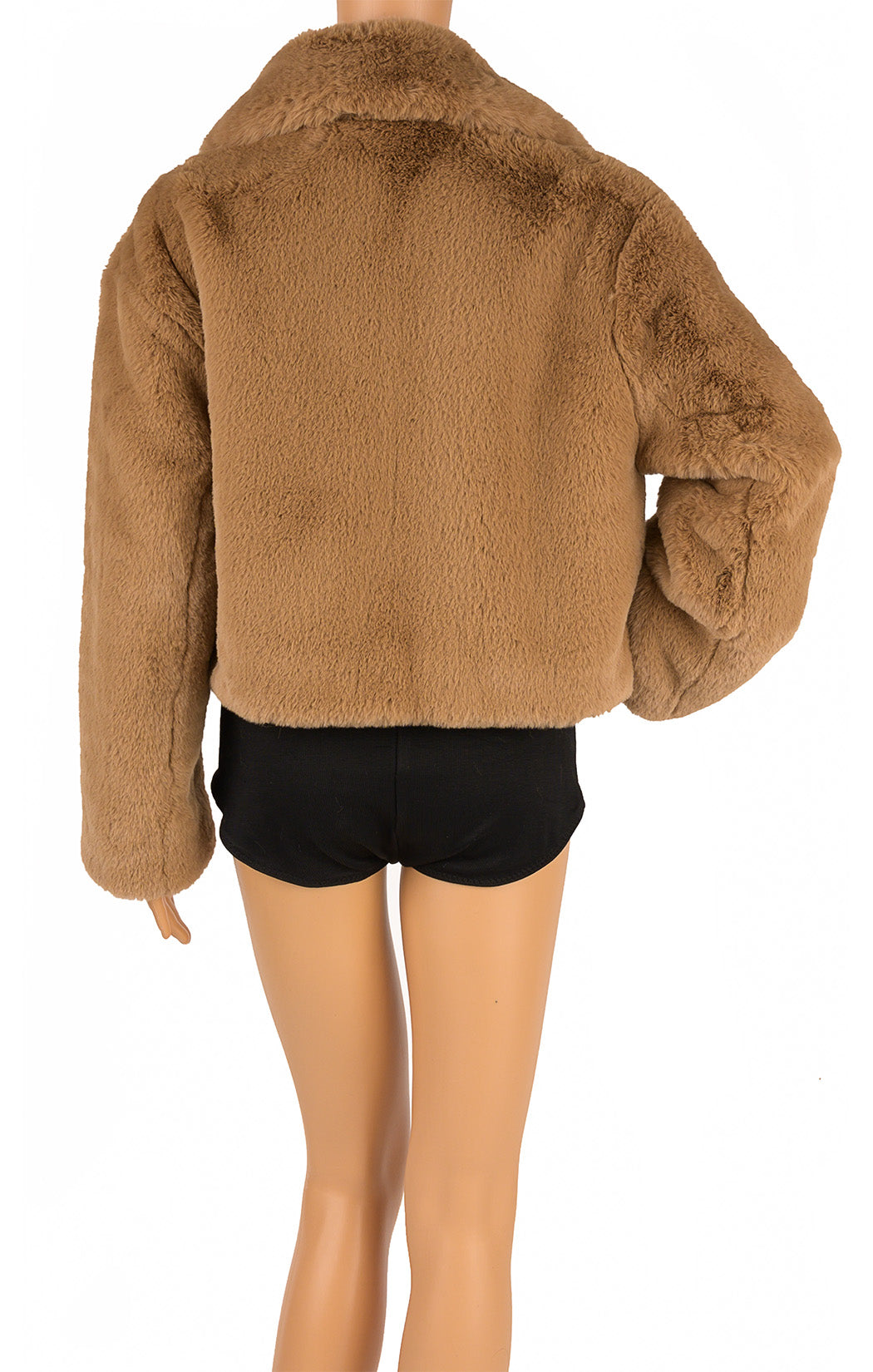Back view of STAND STUDIO with tags Faux fur jacket