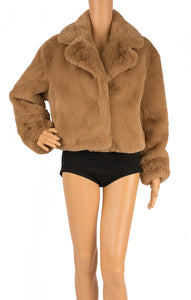Front view of STAND STUDIO with tags Faux fur jacket  Size: 34 (comparable to US Small)