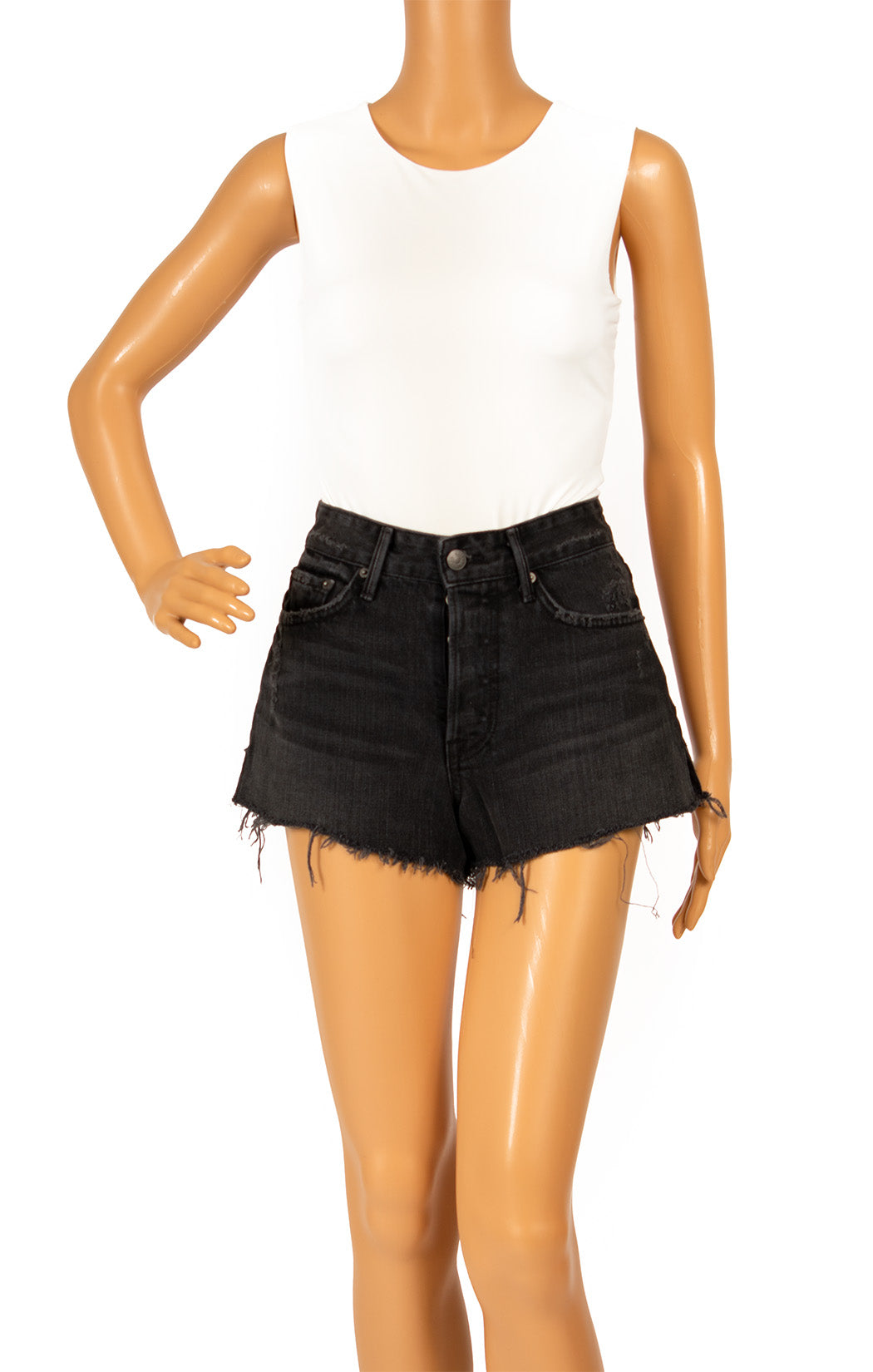 Front view of GIRLFRIEND Jean shorts Size: 24 Waist