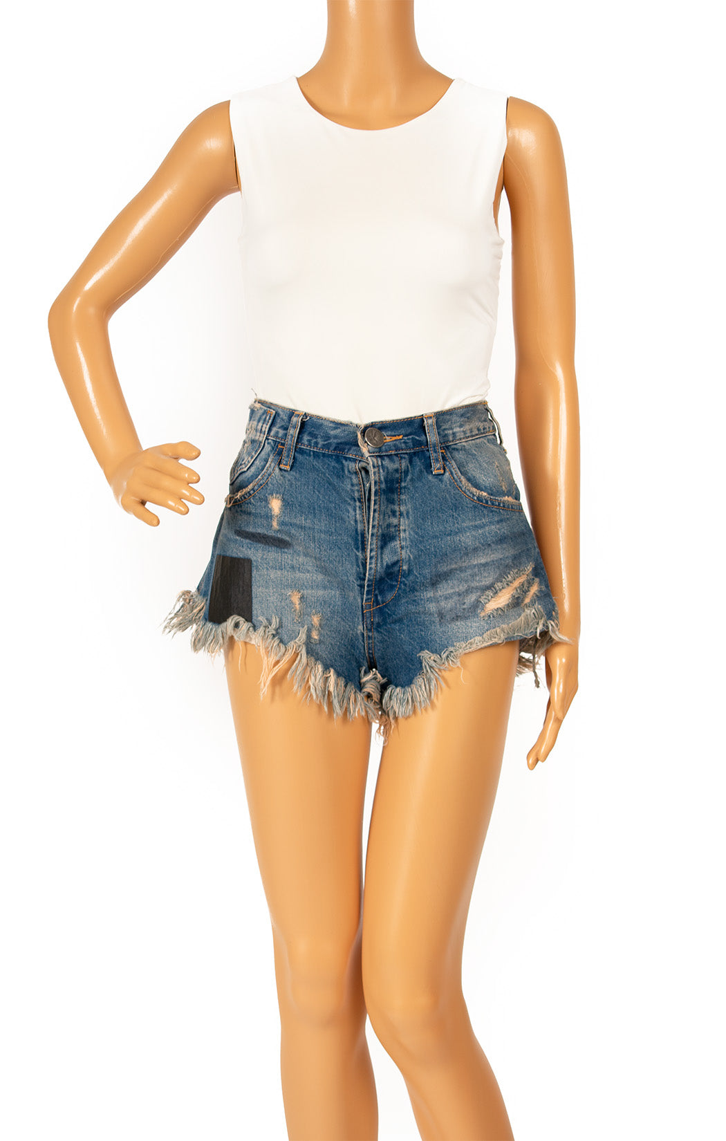 Front view of ONE TEASPOON Jean shorts Size: 25 Waist