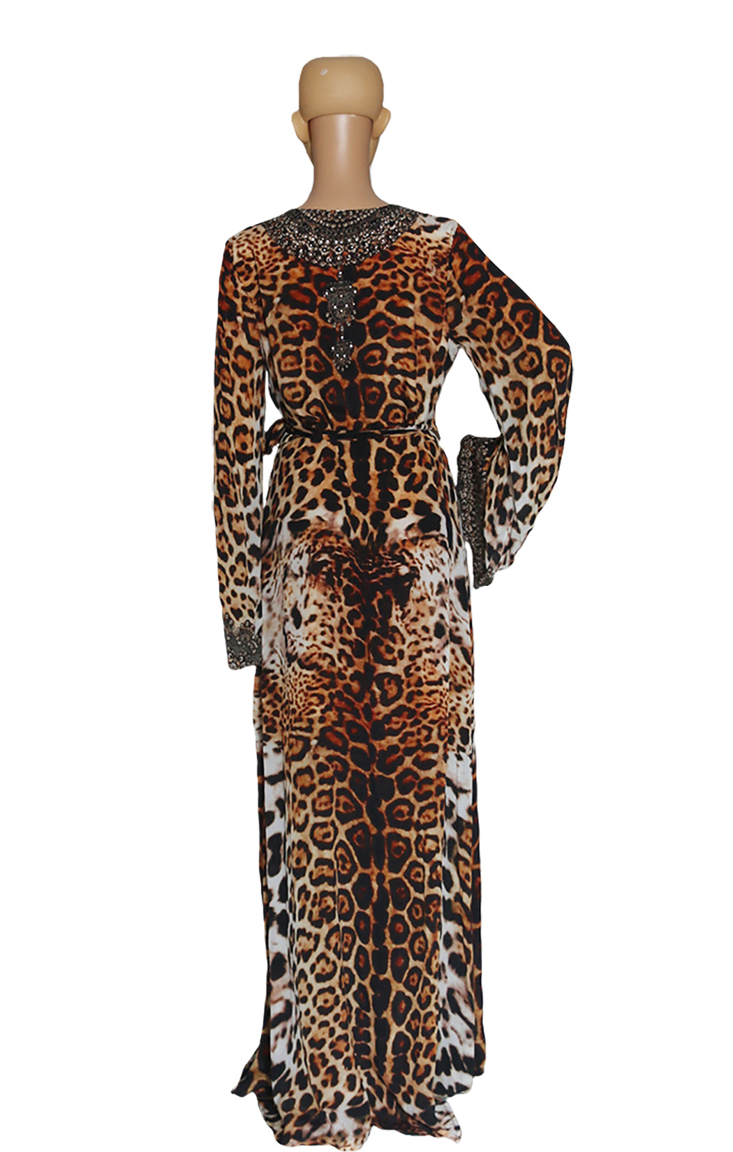 Back view of SHAHIDA Leopard Print Wrap Robe