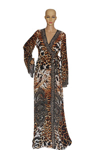 Front view of SHAHIDA Leopard Print Wrap Robe Size: Medium