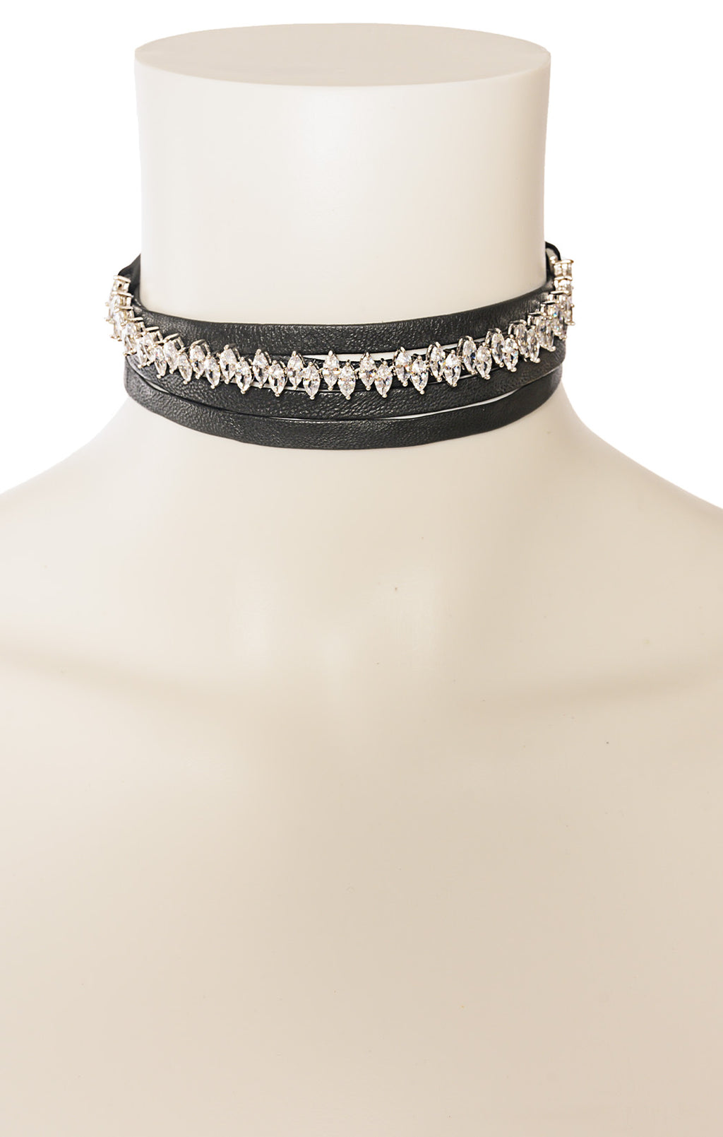"View of NO NAME Necklace Size: Rhinestone area is 6"" with black leather straps 33"" long"