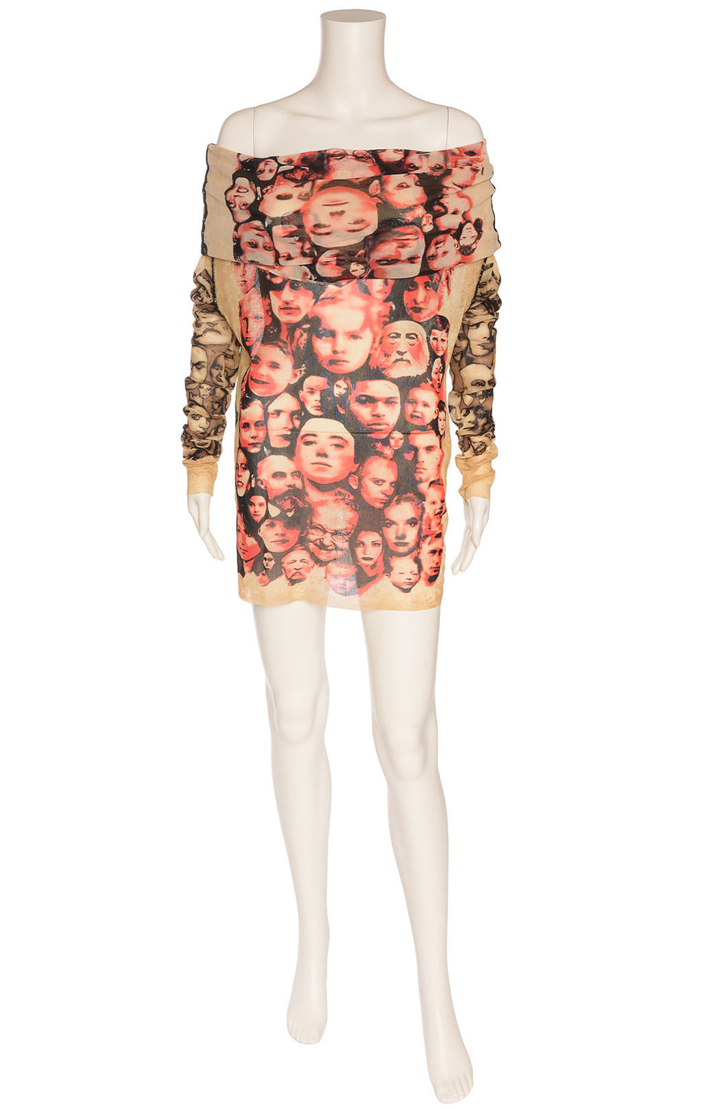 Multi-colored face print mini dress with long sleeve and off the shoulder collar