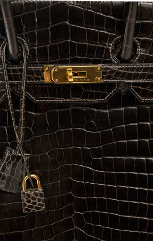 Rare Luxury Hermès Dark Brown Crocodile Birkin Bag