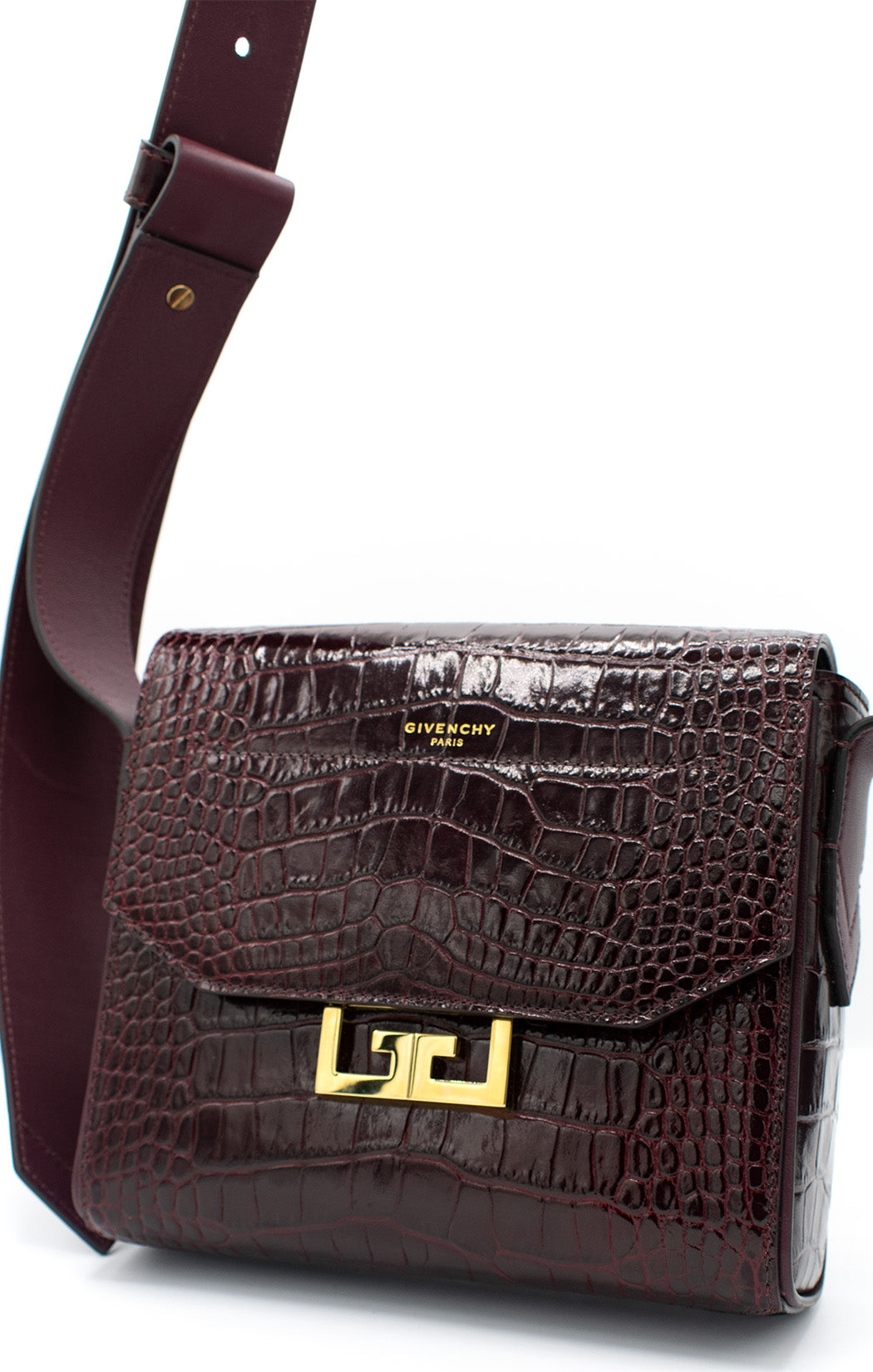 "Front view of GIVENCHY Croc embossed leather handbag Size: 7.5"" H, 7.5"" W, 2"" D"