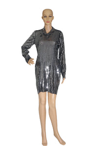 Front view of TANYA TAYLOR  Sequined Dress No Tags, Sized Like US 8