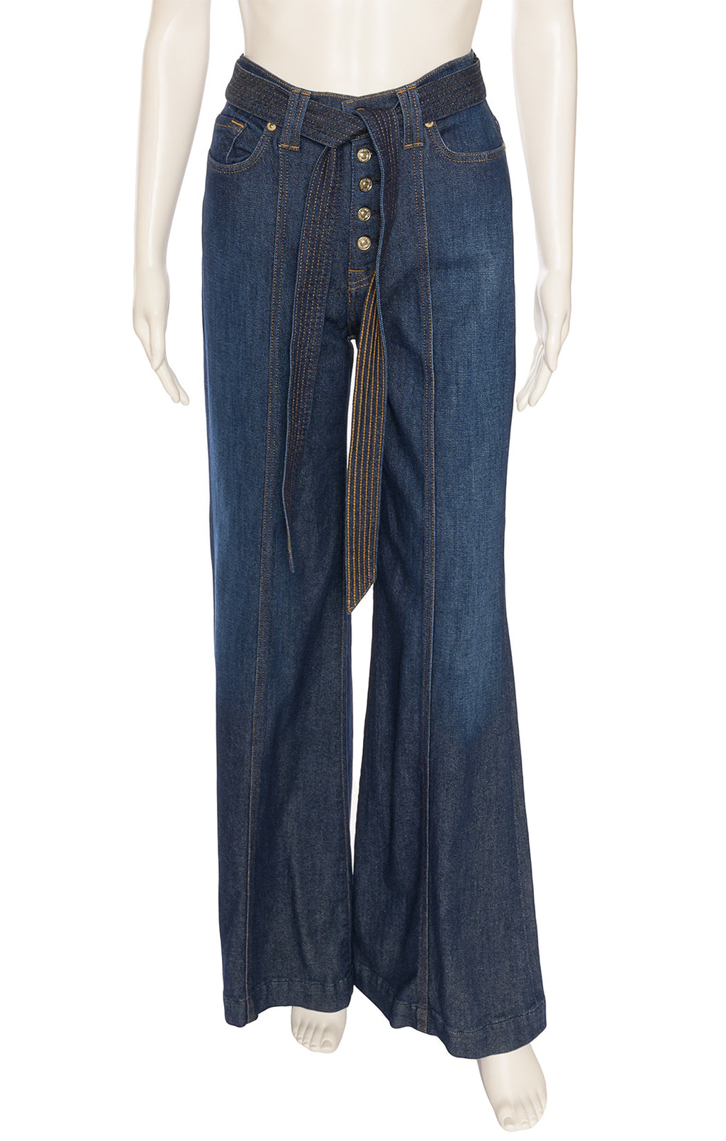 Denim high waisted jeans with front silver buttons, matching belt, five pocket bell bottoms