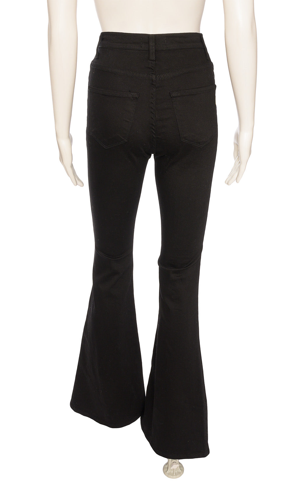 Black five pocket style jeans with front zipper bell bottoms