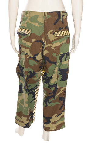 Army green camouflage full cargo pants