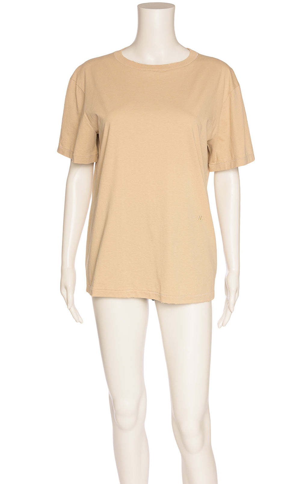 Khaki colored shirt sleeve crew neck t-shirt with frayed collar