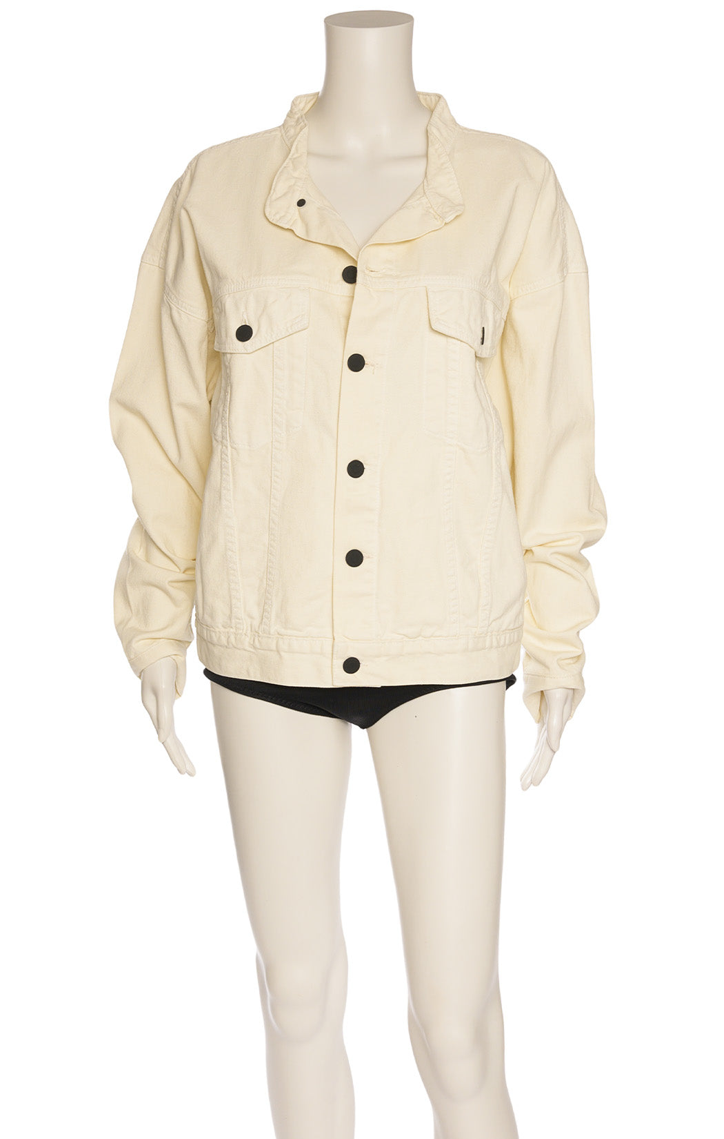 Ivory colored jean jacket with black buttons