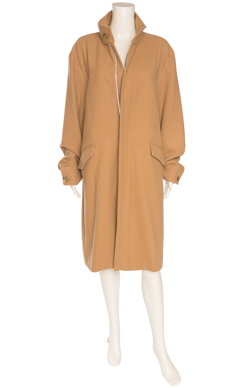 Camel colored long sleeve collared coat