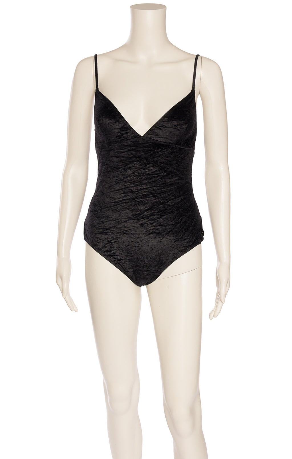 Black velvet like fabric one piece bathing suit with silver Dior logo on side
