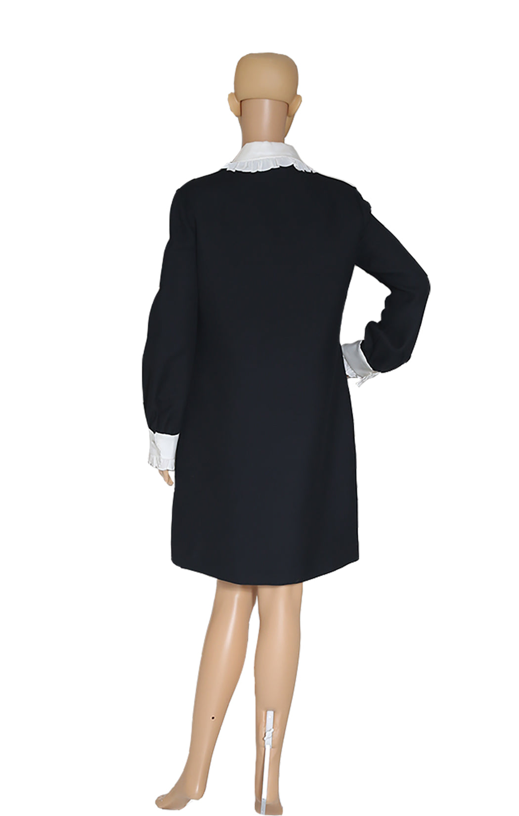 Back view of GUCCI Black and White Collared Dress with Tags