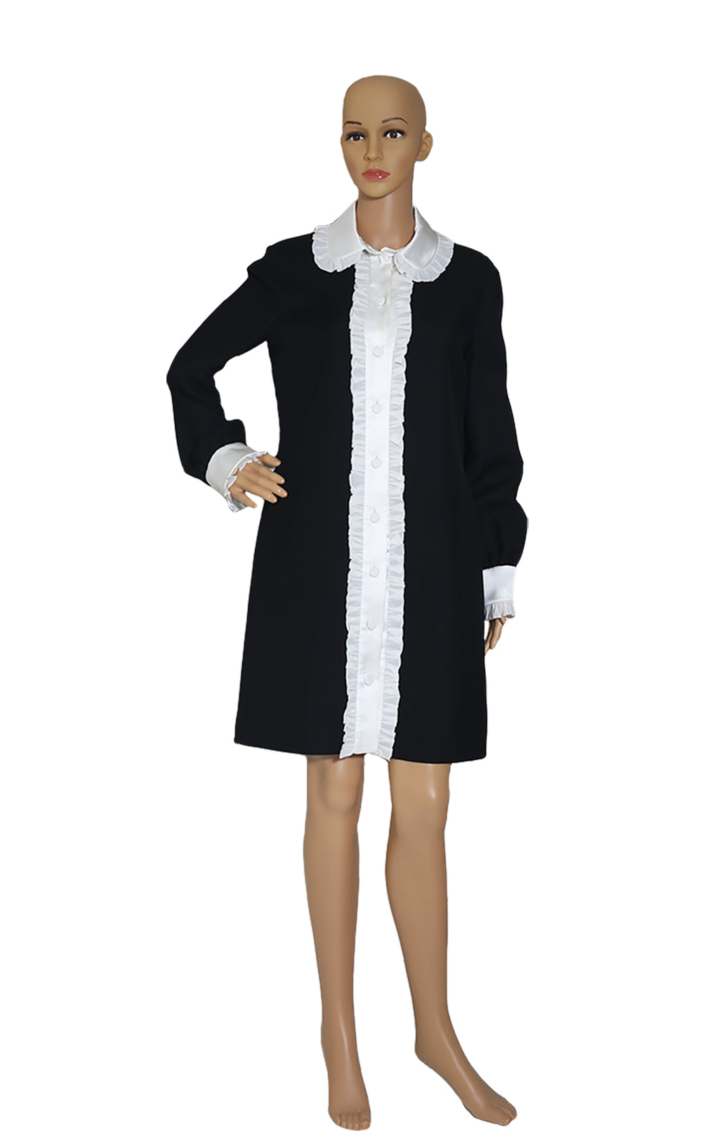 Front view of GUCCI Black and White Collared Dress with Tags Size: IT 44 (US 8)