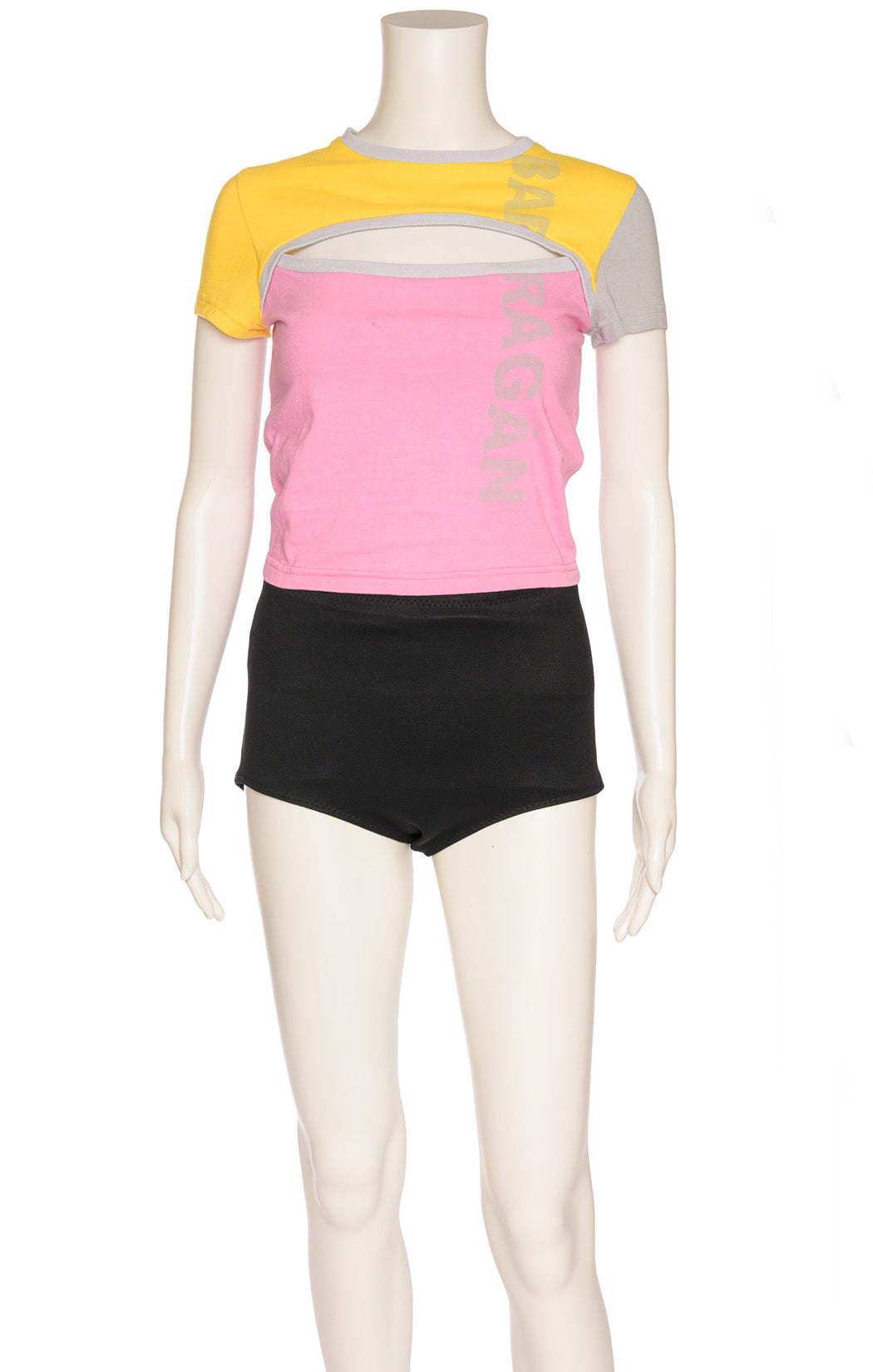 Yellow gray and pink shirt sleeve t-shirt with open bodice area front and back with writing on front