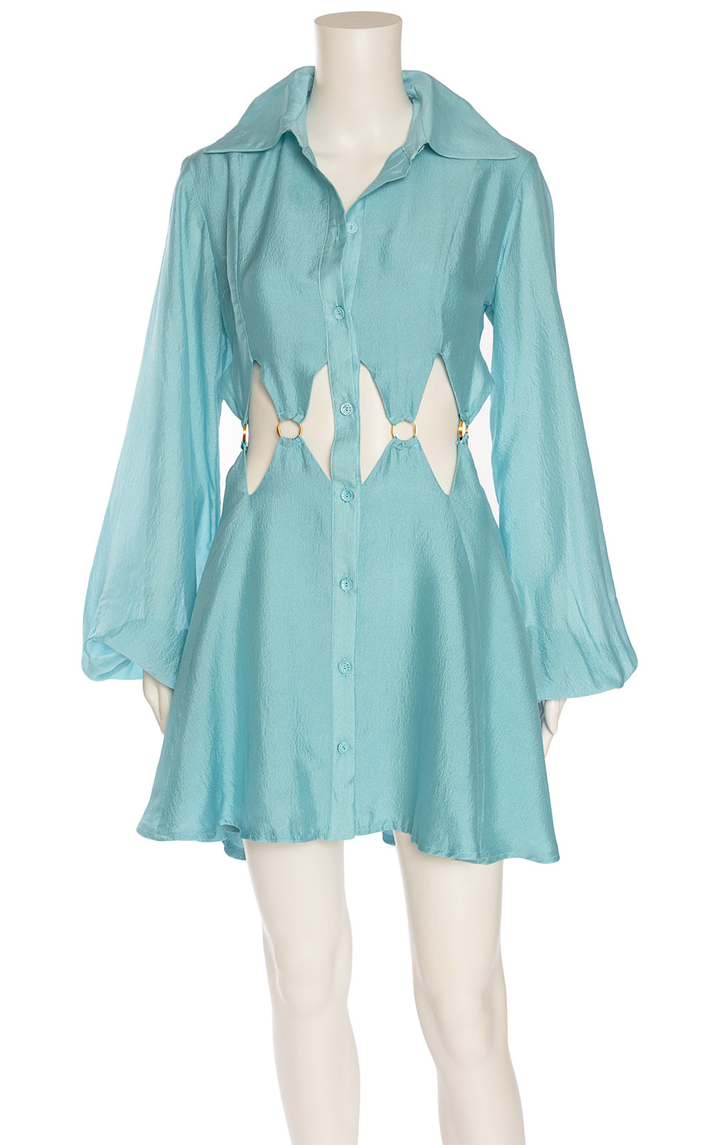 Blue long sleeve button down front closure dress with collar and open waist around dress with gold circles