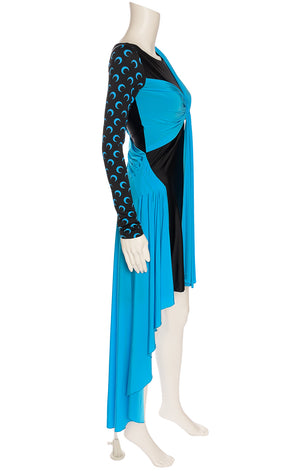 Turquoise and black asymmetrical dress with back zipper, long sleeves and knot front and one moon print sleeve with other side sleeveless