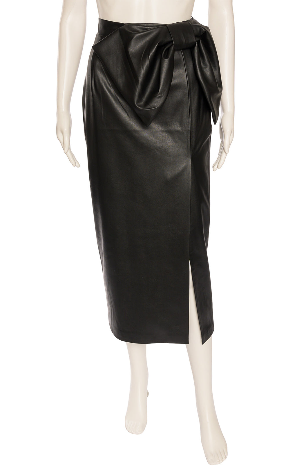 Black faux leather high waisted midi length skirt with side zipper, high slit and front bow