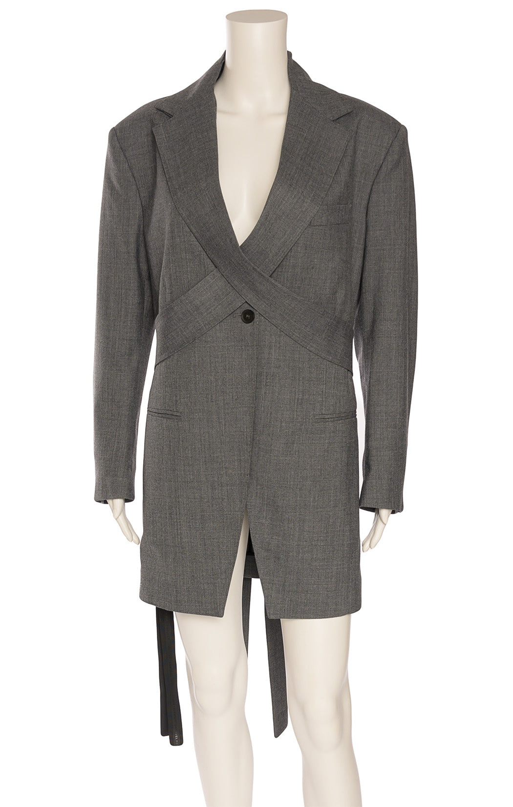 Gray single breasted long sleeve jacket with wrap around belt at top, slit front pockets, top flap pocket with shoulder pads