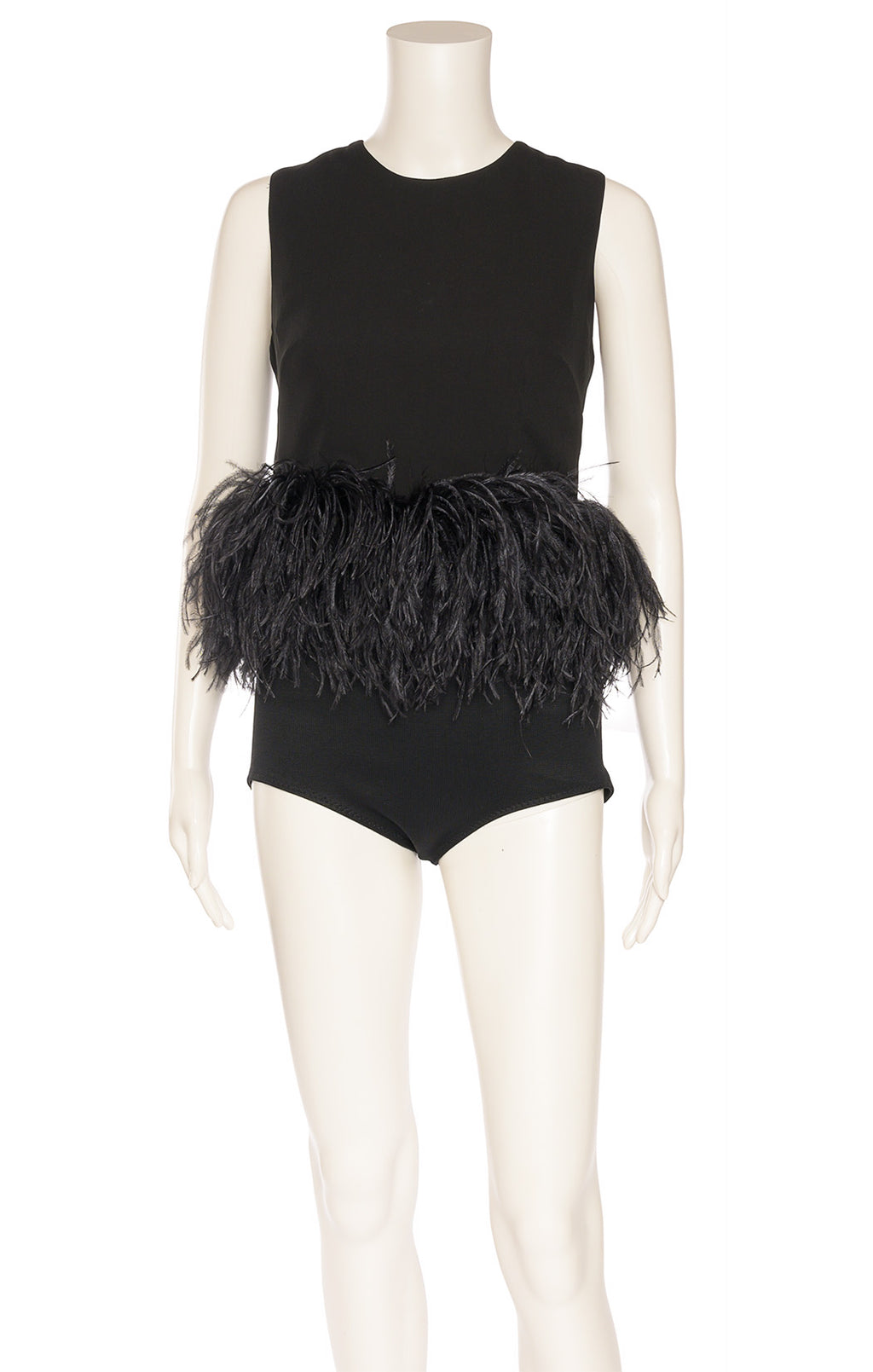 Black sleeveless top with back invisible zipper and ostrich feathered bottom