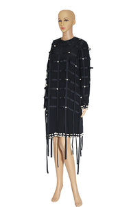 Front view of ANNA K Black Pearl Dress with Overlay Size: L