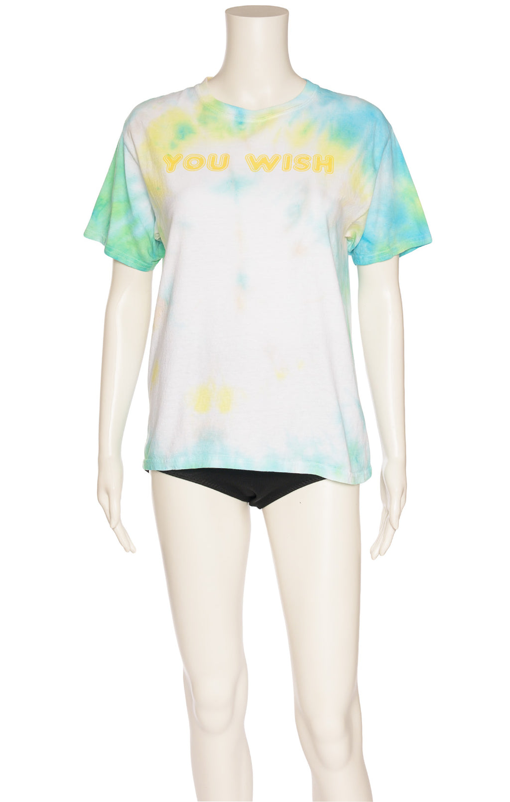 Green blue yellow and white tie-dye with yellow front writing short sleeve t-shirt