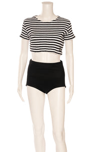 Black and white stripe crop top