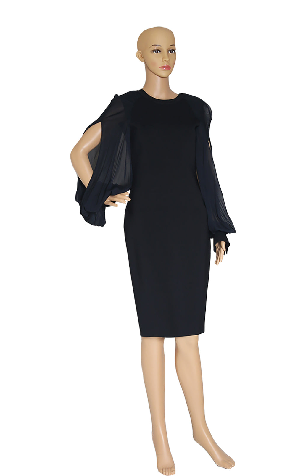 Front view of GIVENCHY Black Balloon Sleeve Dress Size: M