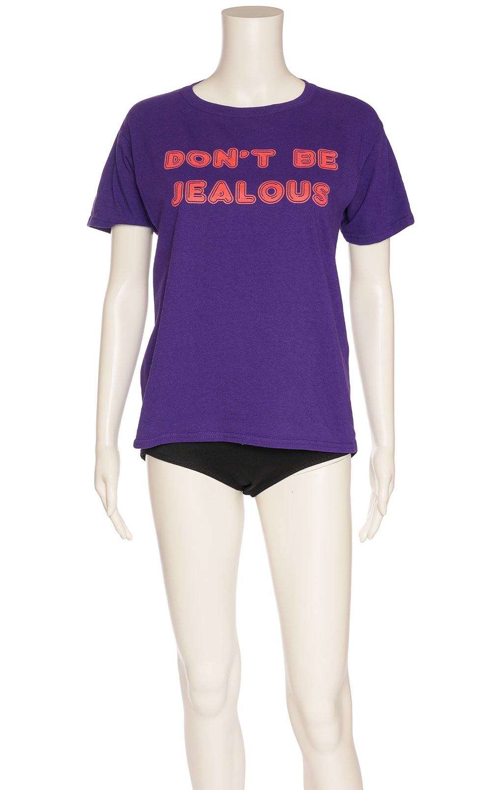 Purple with red writing short sleeve t-shirt