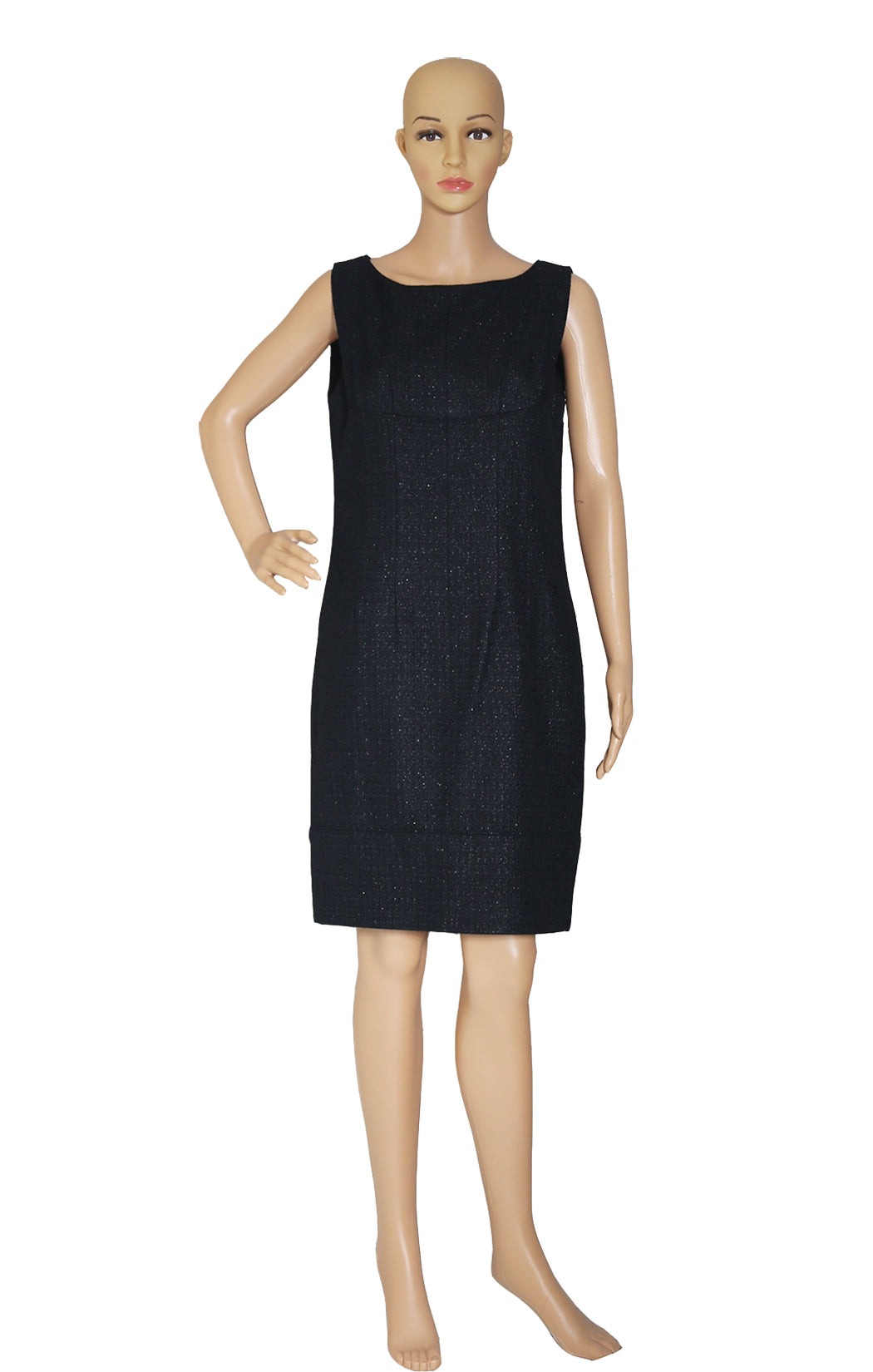 Front view of CHANEL Black Sleeveless Dress Size: FR 40 (US 8)