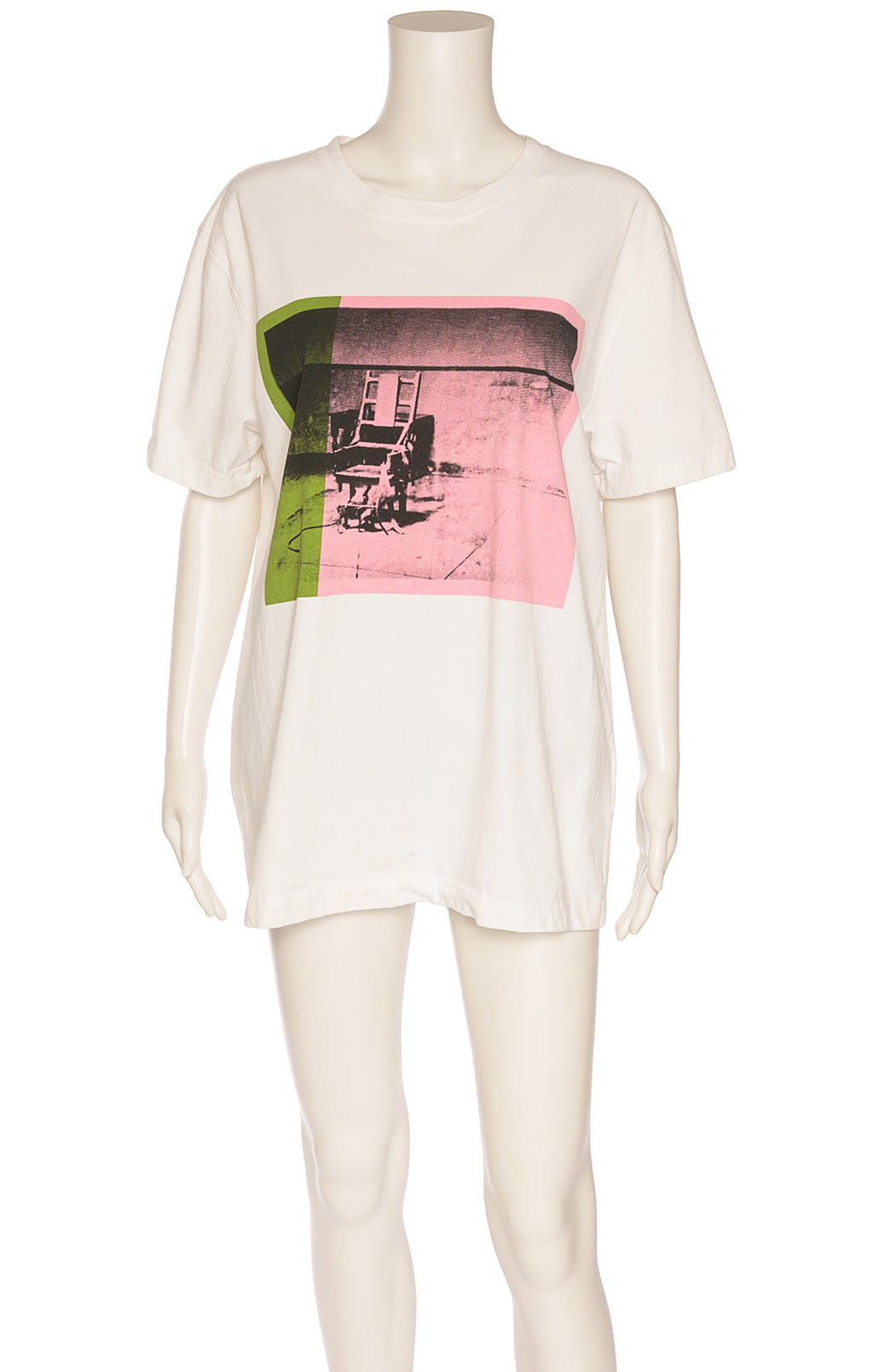 White short sleeve crew neck t-shirt with pink green and black Warhol