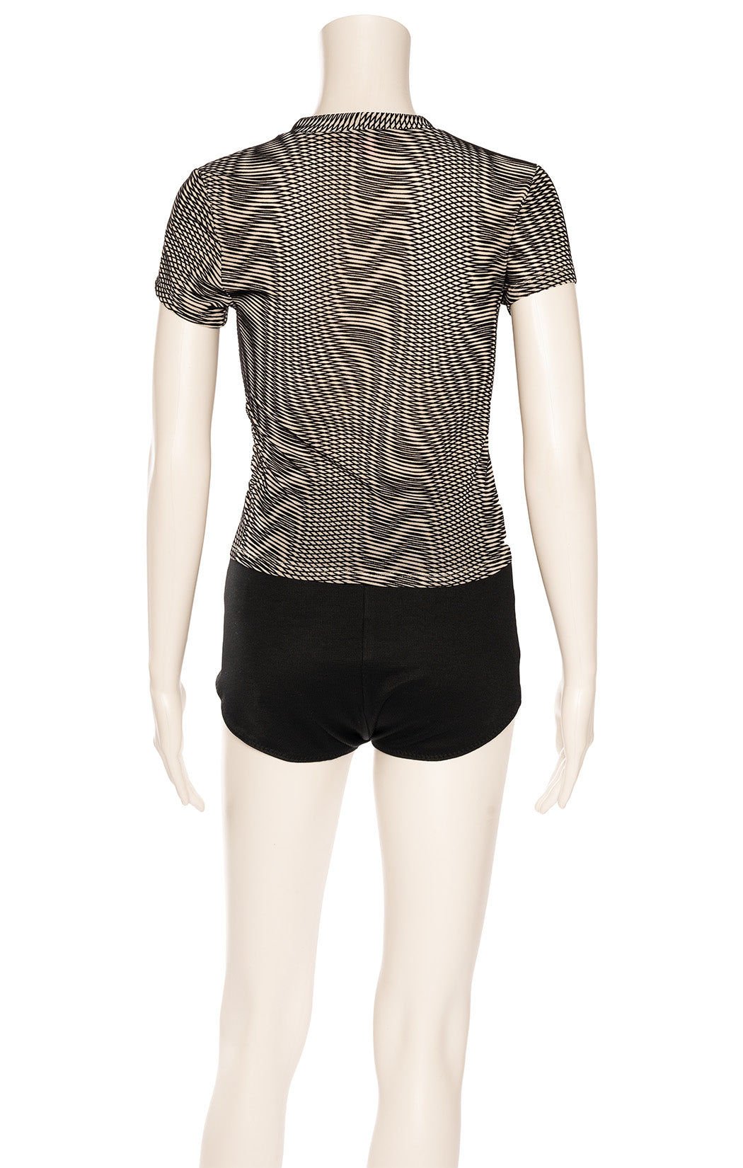 Black and beige textured patterned top
