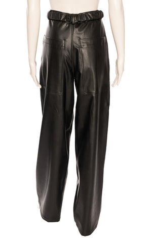 Black faux leather wife legged trouser style pant with elastic attached belt