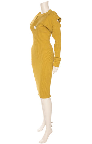 Mustard colored v-neck ribbed knit long sleeve, form fitting dress with top overlay