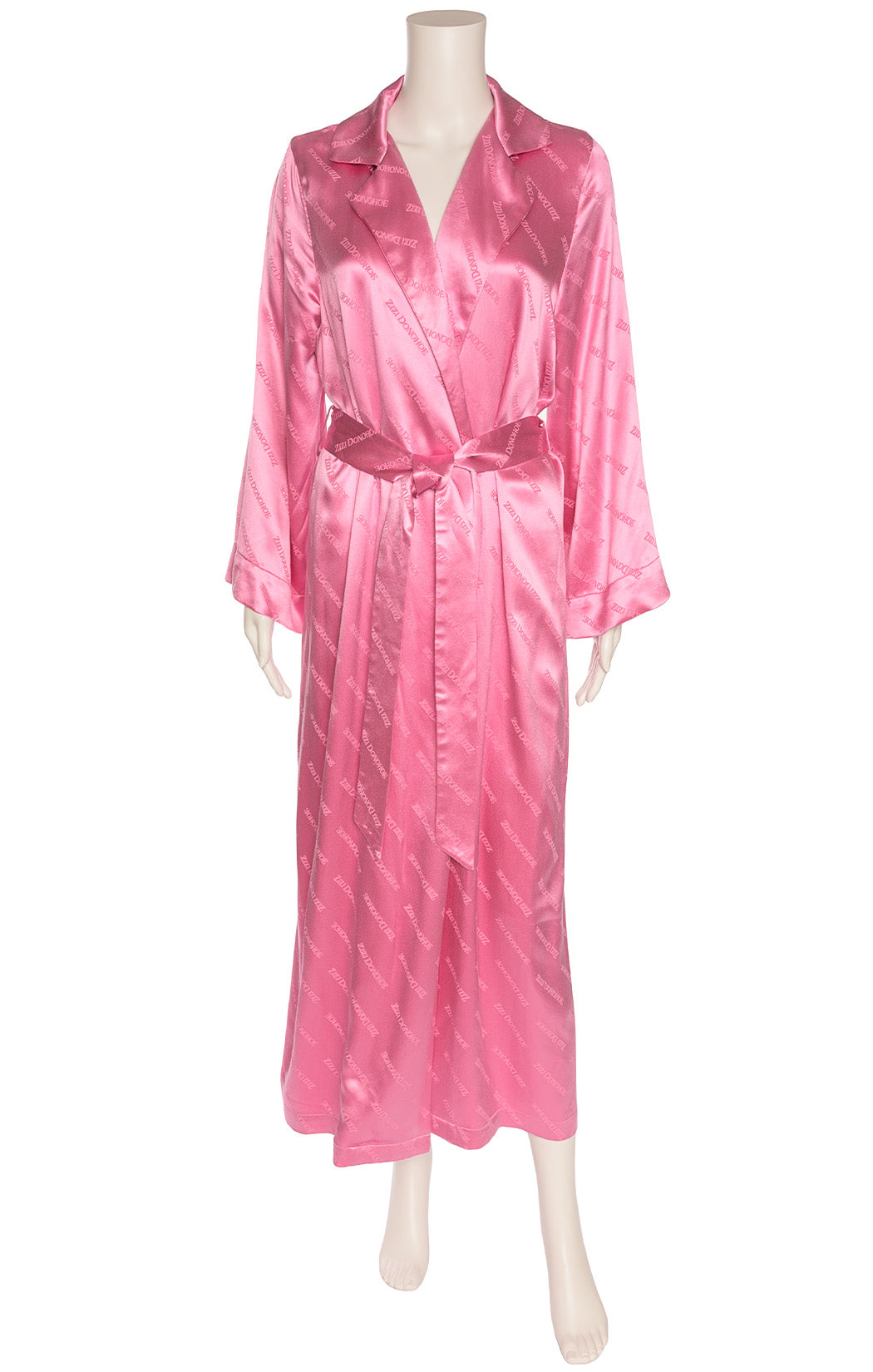 Pink logo wrap long robe