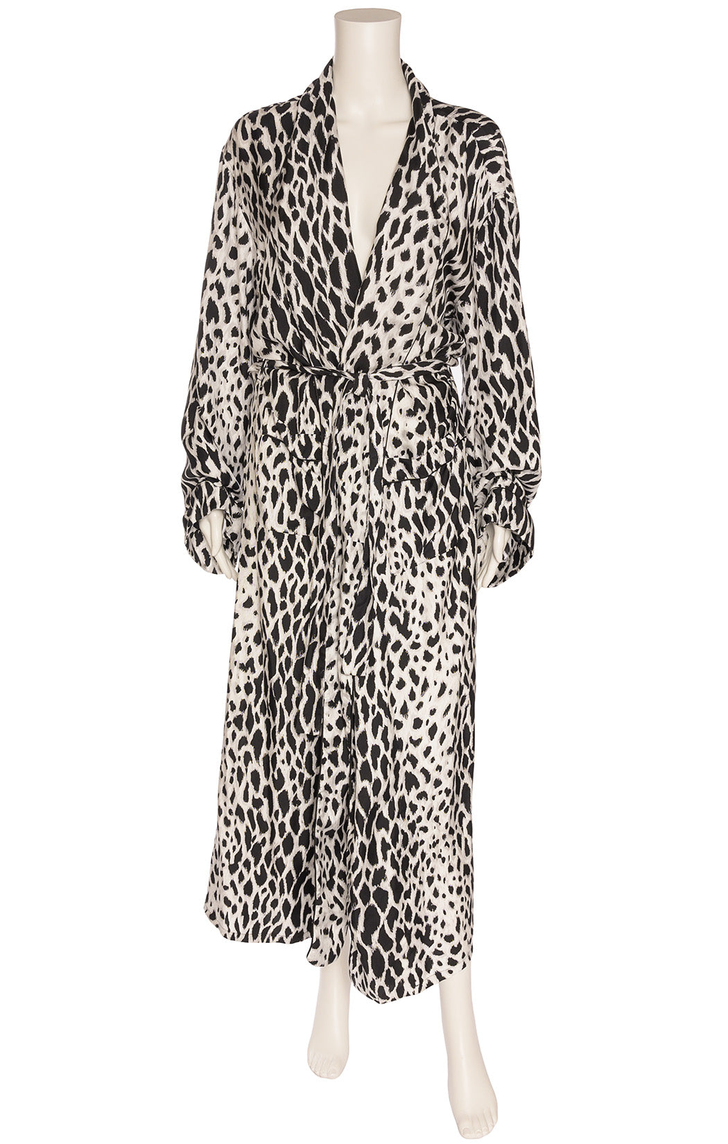 Black gray and white animal print wrap robe with front pockets and matching belt