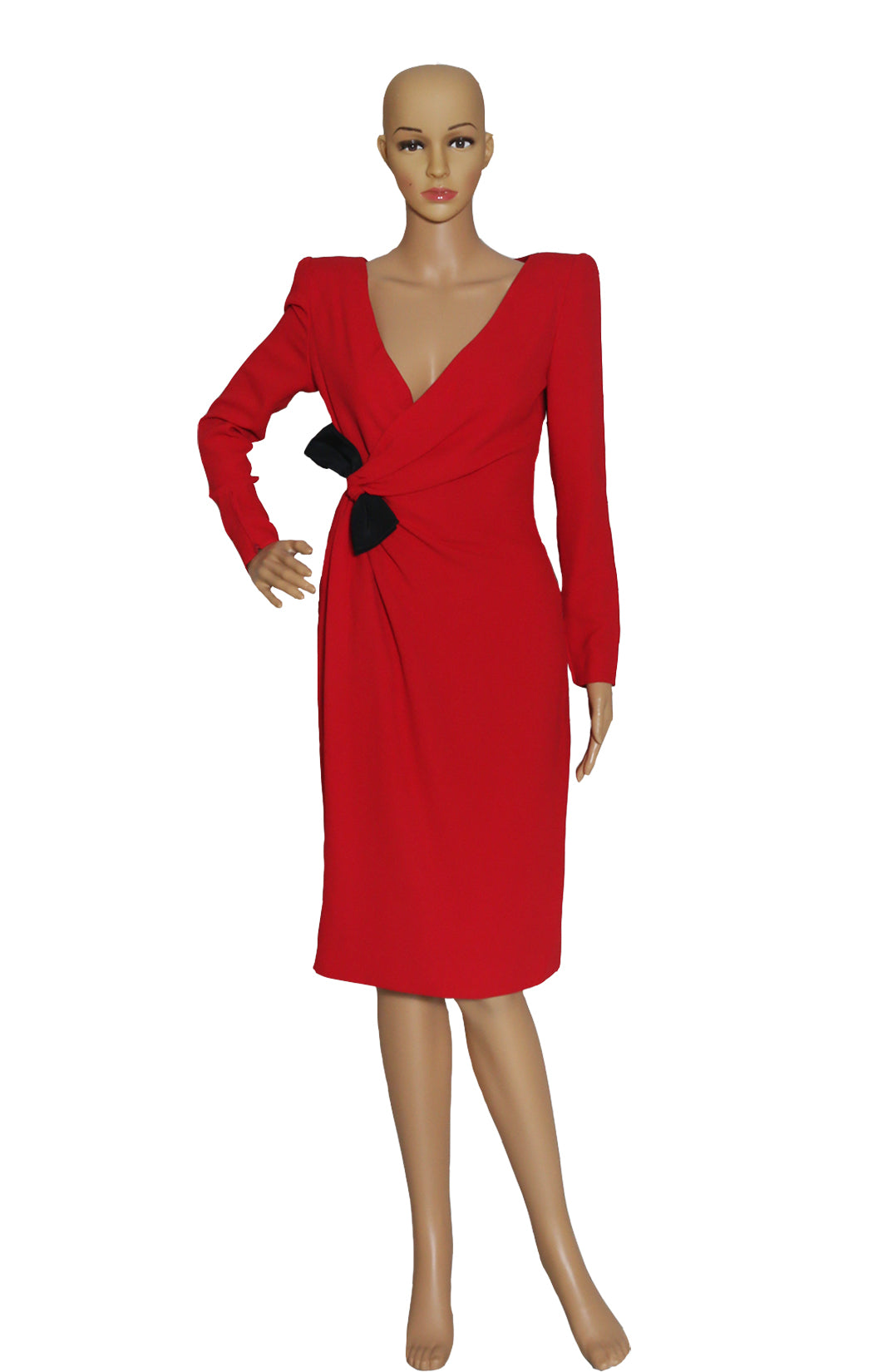Front view of VALENTINO (Vintage) Red Dress No Tag, Sized Like US 6