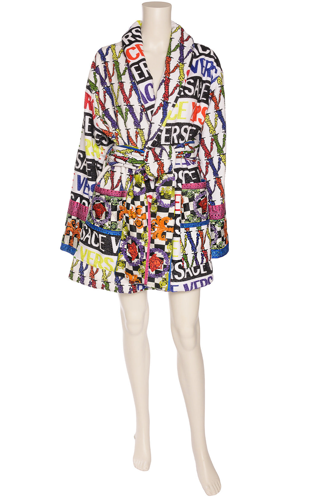 White terry cloth multi-colored logo print long sleeve wrap robe with shawl collar
