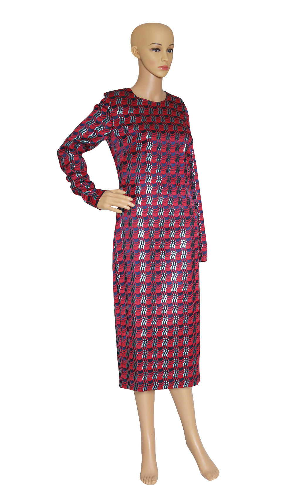 Front view of DIANE VON FURSTENBERG Red Plaid Dress with Tags Size: US 6