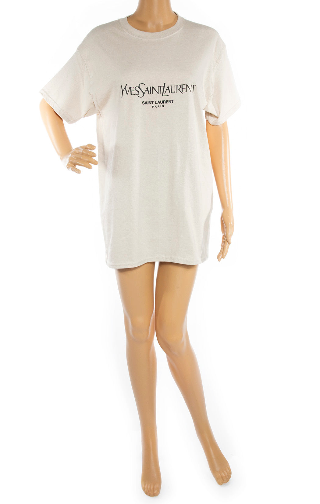 Front view of YVES SAINT LAURENT  T-Shirt Size: No tags, fits like medium