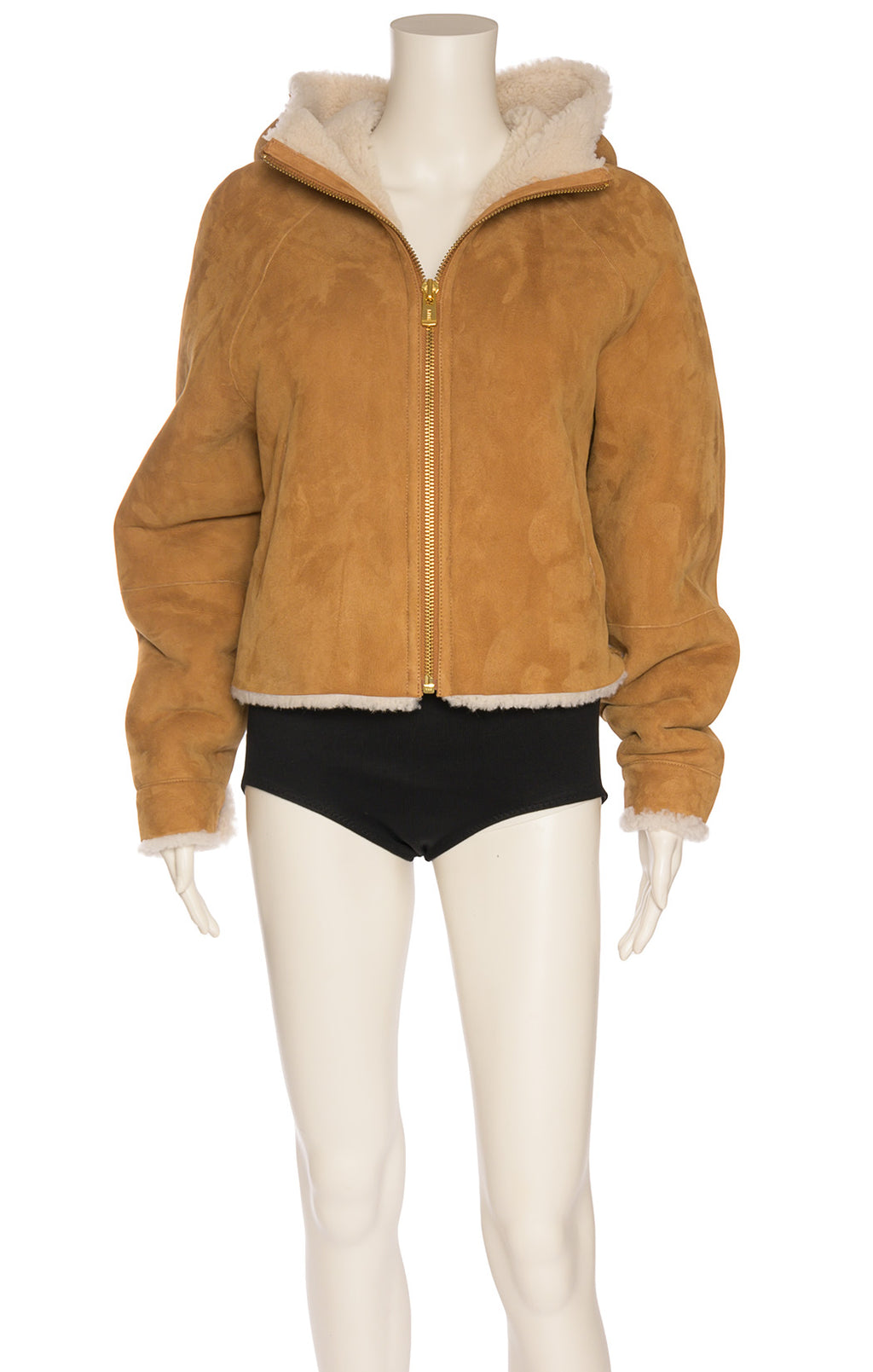 Natural colored leather and sheepskins jacket with zipper front and side front pockets