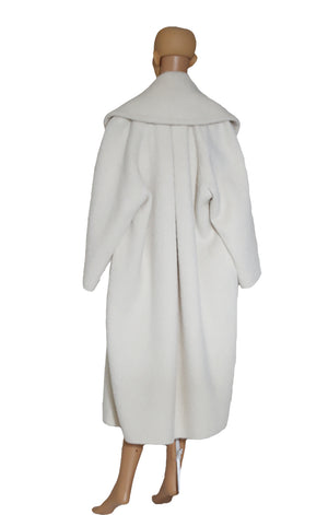 Back view of MAX MARA ATELIER Oversized Off White Coat