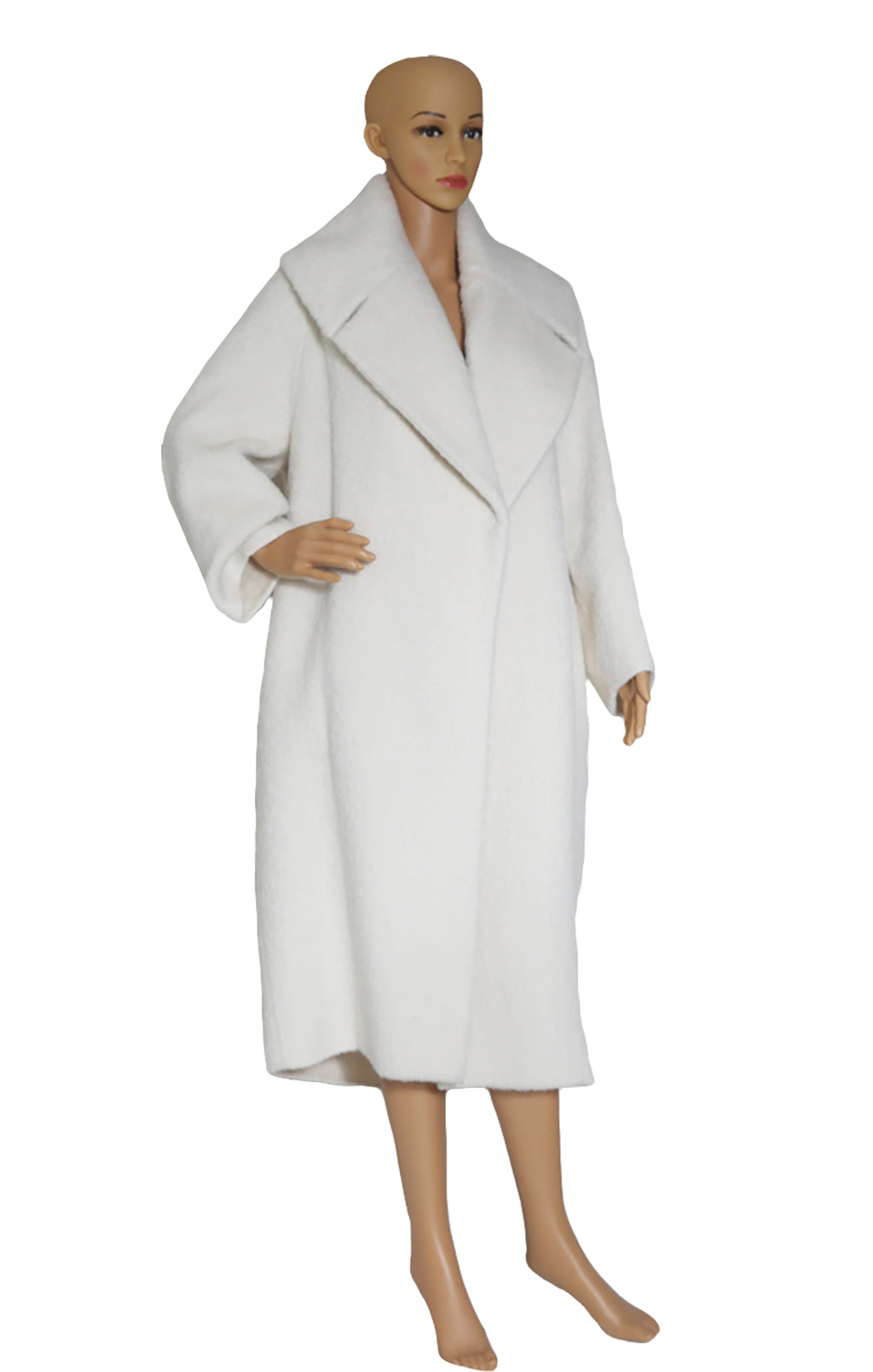 Front view of MAX MARA ATELIER Oversized Off White Coat