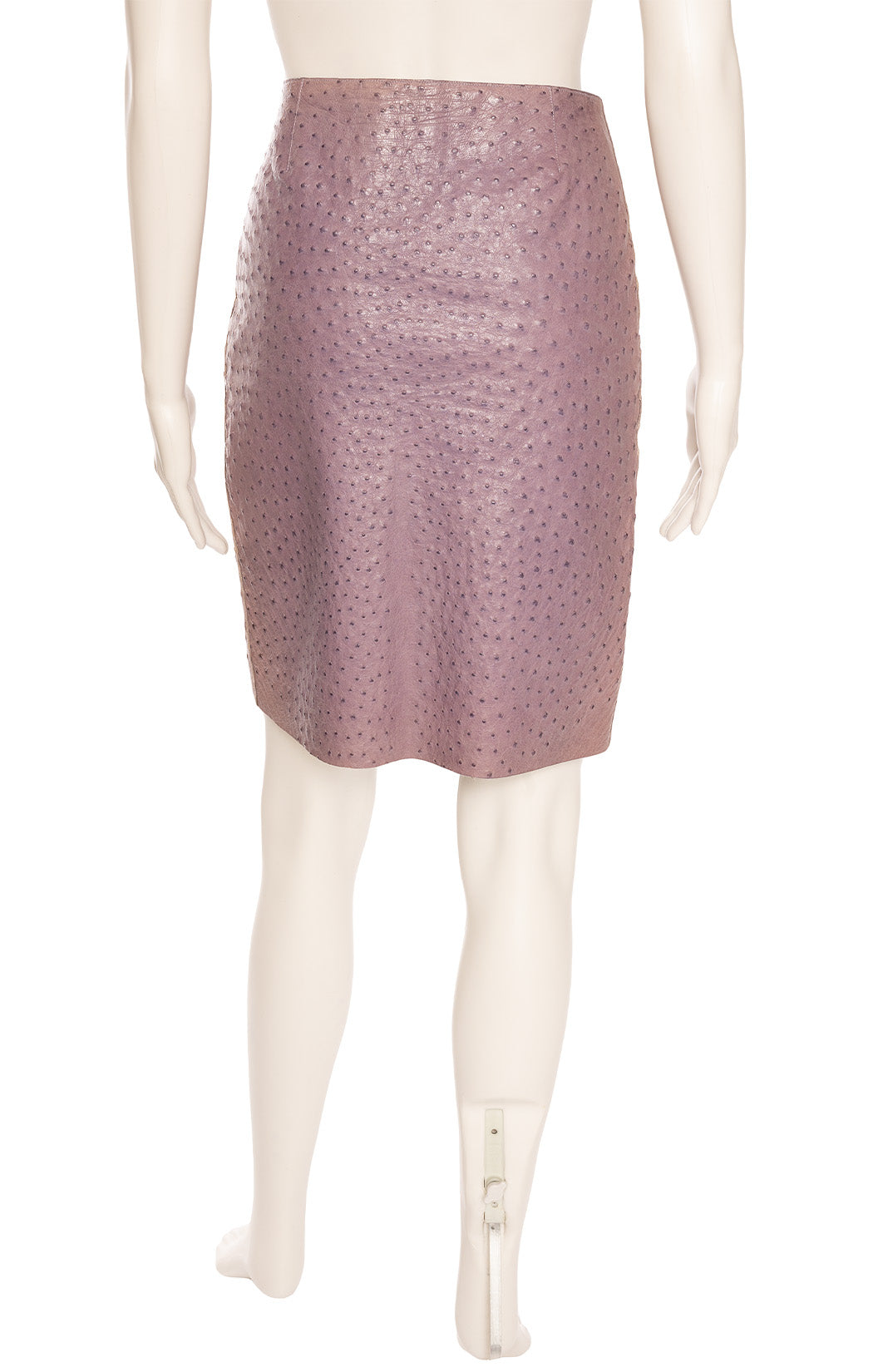 Lavender ostrich skirt with side zipper