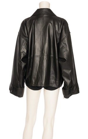 Black leather like double-breasted full a-line jacket with front flap pockets
