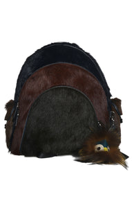Front view of FENDI Fur Backpack with Bag Charm Size: 16 x 16 x 8 in.
