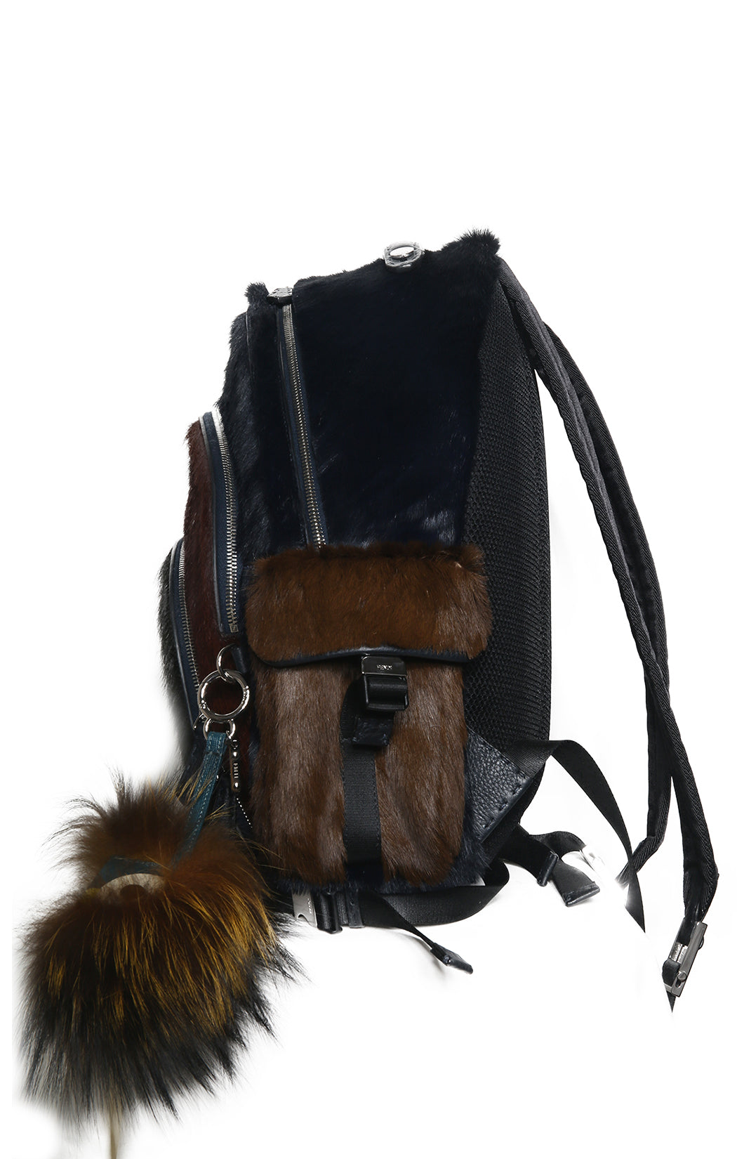 Side view of FENDI Fur Backpack with Bag Charm