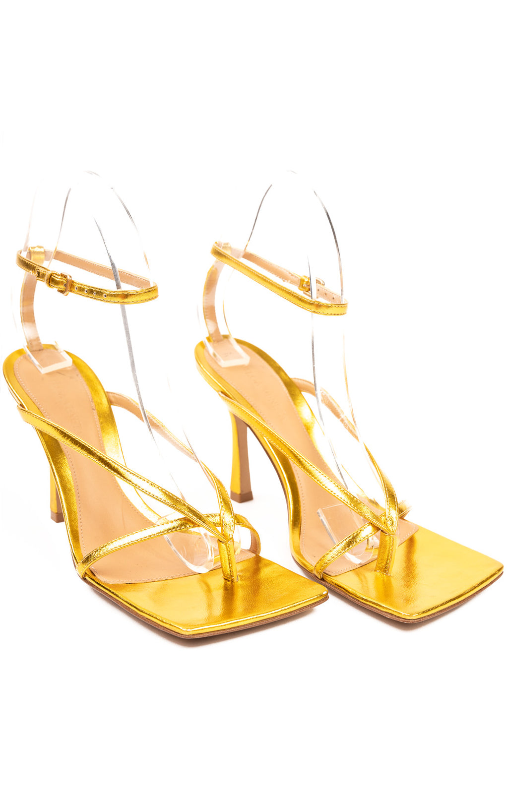 "Gold strap square toe sandals with 4"" heel"